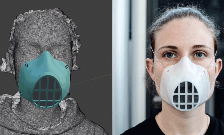 3d printed mask design and on womens face side by side