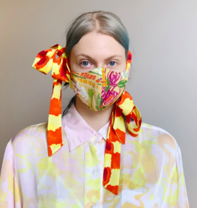 face mask made from high end fashion brand bows